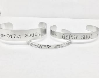 Gypsy Soul Cuff Bracelets Mantra Jewelry Mantra Bracelet Stamped Jewelry Hand Stamped bracelet For Strong Women Metal Bracelet Custom Quote