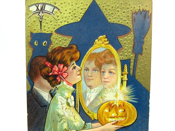 Antique Victorian Halloween Postcard. Predict Your True Love 1910s Paper Collectible