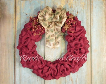 Burgundy Burlap Wreath with Pinecone Ribbon and Berries