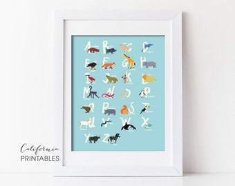 Animal Alphabet Printable, Alphabet Printable, Animal Alphabet Print, Animal Letters, Kid's Room Wall Art, Nursery Wall Art, Alphabet 203
