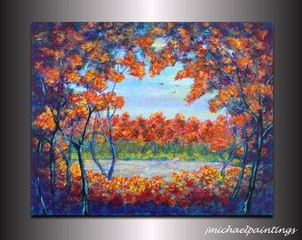 Large Contemporary Modern Fall Autumn Landscape Painting Over the Bed Couch Mantel Vivid Colorful Art Acrylic 24x30 JMichael
