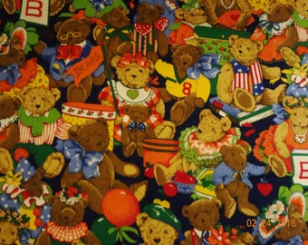 """Country Bear Cotton Fabric Piece - 22"""" x 56"""""""