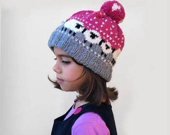 Girls Knit hat / Fair isle knit hat / Hot pink knit hat / Gift for girls / Warm knit accessories / Pom pom hat / knit sheep hat Knit beanie