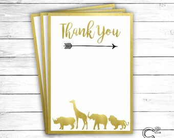 Gold Safari Thank You Card
