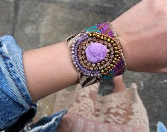 Purple Agate Cuff Wide Leather Cuff Bracelet Bohemian Bracelet Fabric Cuff Bracelet Swarovski Crystal Cuff Statement Jewelry Boho Chic Style