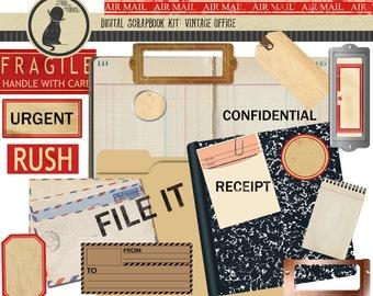 Vintage Office Digital Scrapbook Kit, Vintage Office Clip Art, Vintage Office Digital Scrapbook Supplies, Scrapbook Supplies