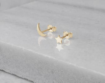 Moon Star Earrings, Gold Mismatched Earrings, Tiny Gold Earrings, 14K Gold Earrings, Yellow Gold, Gold Stud Earrings, Mix And Match Earrings