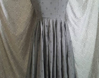 SALE!!! Classic Vintage 1950's Sundress Black and White Gingham Pattern