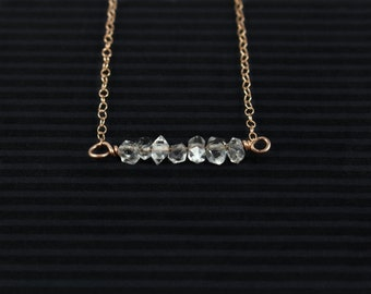 Herkimer Diamond Necklace, Minimalist Necklace, Raw Stone Jewelry, Raw Crystal Necklace, Gold Filled, Delicate Necklace, April Birthstone,
