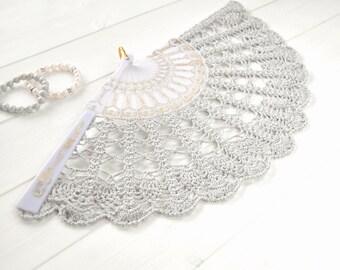 Hand Held Fan- Pearl Gray Wedding Hand Fan- Lace Hand Fan- Gift for Her- Gift under 50- Folding Hand Fan- Spanish Wedding Fan- Bridal Fan