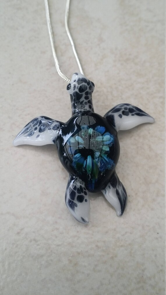 Sea turtle pendant blown glass turtle from the sea glass mozeypictures Images