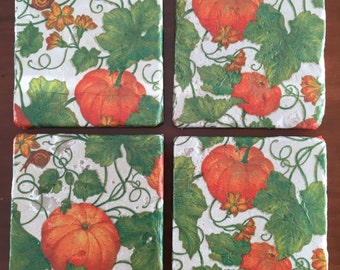 Fall Pumpkin Decorative Tile Coasters