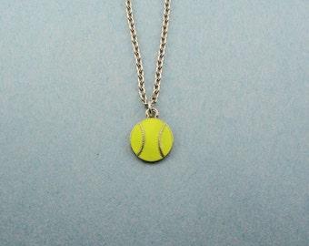 Softball Necklace - Softball Jewelry Charm Necklace - Softball Player Gift - Softball Team Gift - Softball Award - Softball Party Favor
