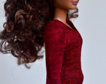Sweater 3/4 or long sleeves for 12 inches dolls such as Momoko, Silkstone, Poppy Parker, Barbie, Liv or other similar dolls