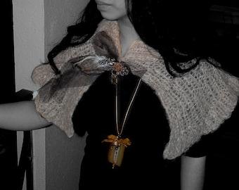 Hand Knit, Steam Punk, Gothic, Silk Mohair Capelet