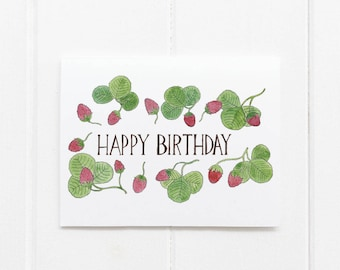 Strawberries Birthday Card / Floral Birthday Card / Botanical Card / Watercolor Card / Strawberries / Gifts for Her / Garden Birthday Card