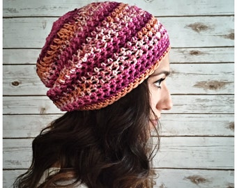 Slouchy Beanie, Pink and Orange Multi Color Blend Slouchy Hat, Winter Hats, Slouchy Beanie Hat, Knit Beanie, Crochet Textured Hat