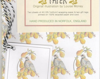 Partridge in a Pear Tree wrapping paper. Wrapping paper with a partridge.  christmas wrapping paper. partridge paper. christmas gift wrap