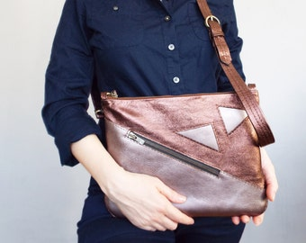 Copper leather purse.  Geometric leather clutch. Leather crossbody bag.