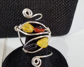 Sold*** CUSTOM Amber Baltic Multi-color Necklace Earrings Ring Set
