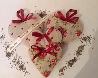 Linen lavender hearts