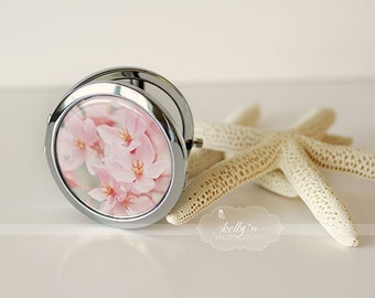 """Photo Mirror Compact- """"Curlie Cues"""", Pink and Orange Flowers Photograph, 3"""" Double Sided Mirror- Engravable Gift Item"""