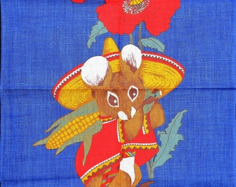 Save The Children.irish Linen Tea Towel. Corn Mouse