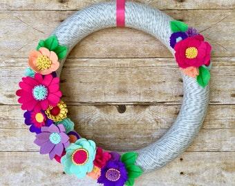 Spring Felt Flower Wreath, Felt Flower Wreath, Summer Felt Wreath