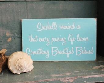 Seashells Wood Sign - Wall Decor -Coastal Decor - Beach - Wall Art - Painted Wood - In Memory of - Beach Wedding