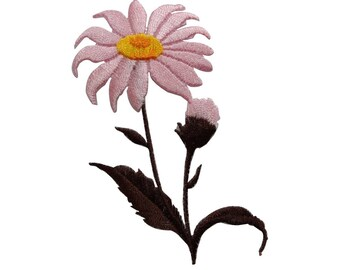 ID 6301 Pink Daisy Flower Patch Bud Garden Spring Embroidered Iron On Applique