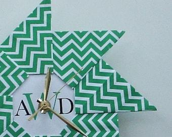Gift For The Home - Wall Clock - Housewarming Gift - Chevron Origami Clock - Green