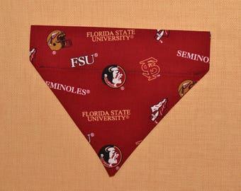 FSU Florida State Seminoles Dog Bandana Over the Collar 3 Sizes