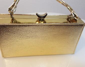 FREE  SHIPPING  Vintage 1950 Gold Metal Box Handbag
