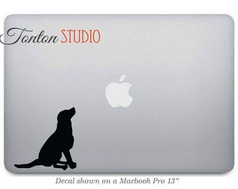 Dog Macbook Sticker - Dog Vinyl Sticker - Dog Vinyl Decal for Macbook Air Pro - black or choose color - Puppy Laptop Notebook - G067