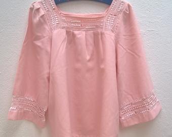 Vintage pink boho blouse