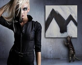 FourRunner 3, black and white, Abstract Art, abstract expressionist, canvas art, wall art, original, modern art, 24x24