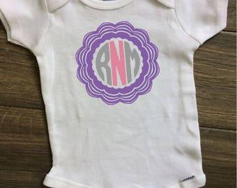 Monogram girl onesie, New baby gift, Monogram baby onesie, Personalized baby onesie, Custom baby onesie, Monogram girl