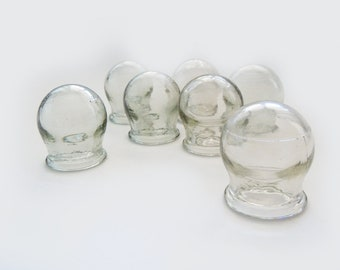 Cupping Therapy Set. Vintage medical glass cupping set of 7 glass cups. 7 pcs thick glass cupping set. Russian vintage vacuum massage cups.