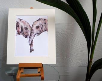 Elephants In Love Print, Animal Lovers Print