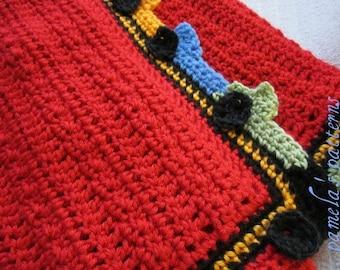"Crochet Hot Cars Blanket PDF Pattern, Cars around the Border Afghan, NASCARfor Kids, 35"" x 32"" (89 cm x 81 cm)"