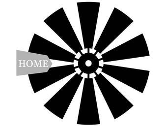 Farmhouse SVG File- Rustic Farmhouse Windmill - Cut file