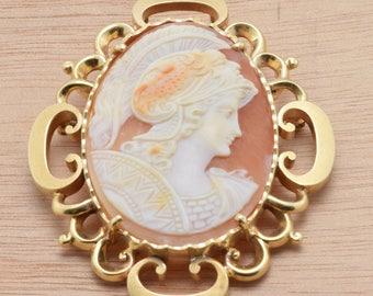 AMAZING* Victorian Shell Cameo Athena / Minerva in 14k Bezel