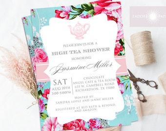 high tea invitation high tea shower printable high tea