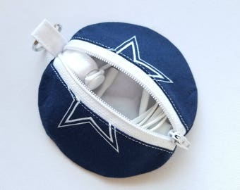Earbuds Case, Earbud Pouch, Earbud Purse, Earbud Keychain, Fabric Earbud Case, Coin Purse, Earbuds Holder, Dallas Cowboys Fabric Keychain
