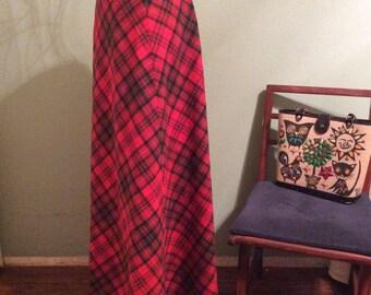 "Vintage 1970s ""Century Boston"" Red Plaid Long Skirt"