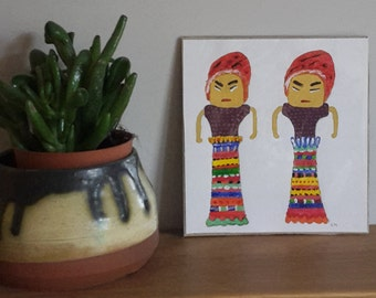 Lucky worry dolls painting, acrylic on paper. Charming characters, tribal, folk, naive art