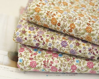 Flower Cotton Fabric - Beige, Purple or Pink - By the Yard 47070