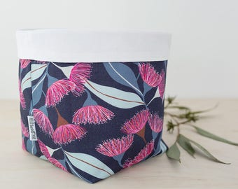 Storage basket. Navy flowering gum print. Bathroom storage. Baby shower gift. Mother's Day gift. Fabric storage bin. Nursery decor