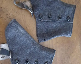SPATS Antique Wool Spats*Button Closure*Mens Spats*Leather Straps*Silver Buckles*Gray Charcoal Wool