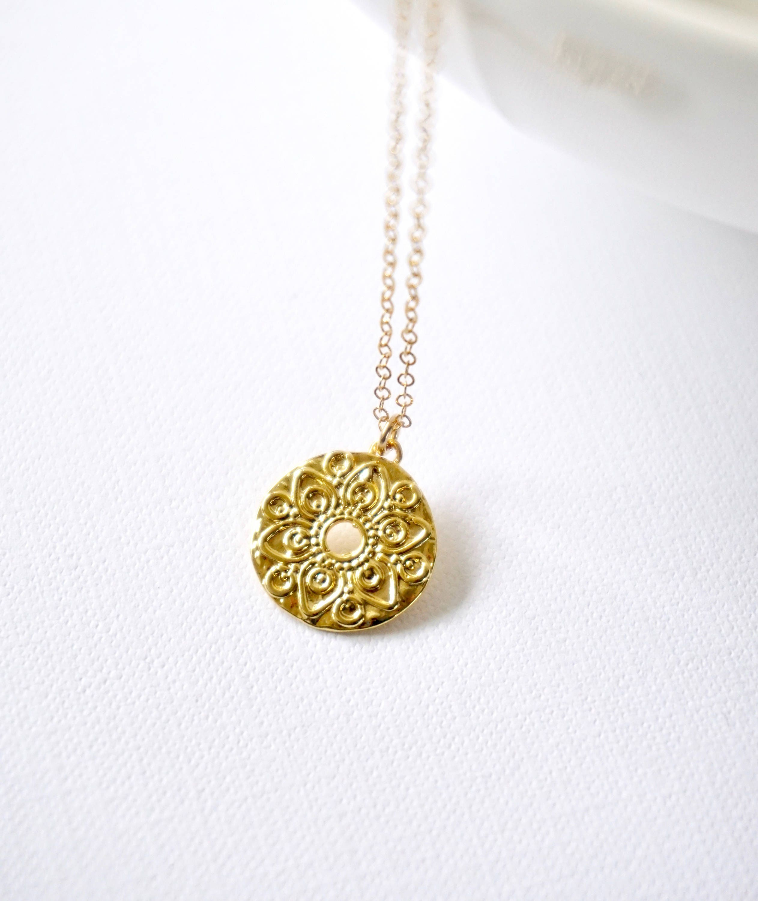 disk gold pendant delicate coin necklace dainty small medallion pin minimalist